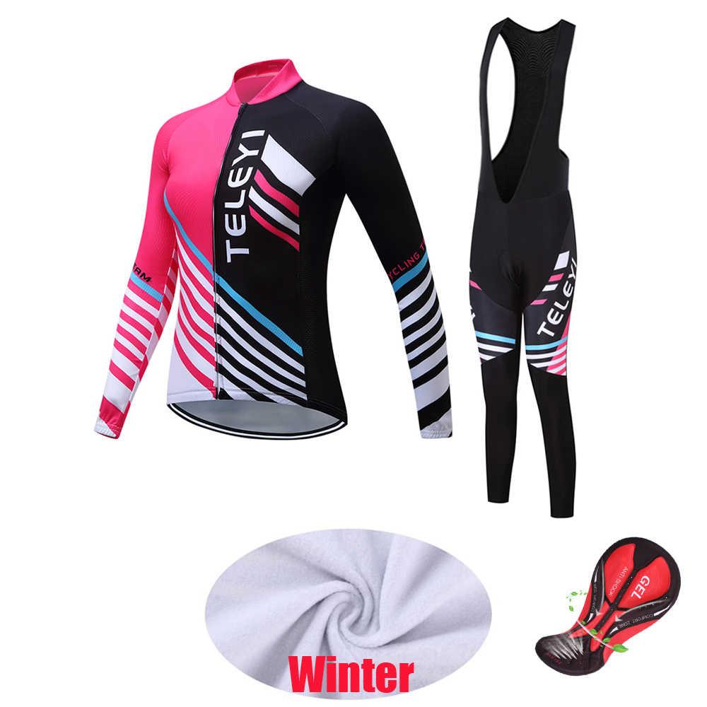 2019 Conjunto de jersey de Ciclismo de Invierno para mujer, ropa de bicicleta de lana térmica, ropa de abrigo, ropa deportiva para bicicleta, kit de trisuit para mujer