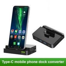 C tipi telefon yerleştirme istasyonu tutucu USB C HDMI SD USB Dock şarj adaptörü Samsung için S10 S9 Dex Station huawei P30 P20 Pro