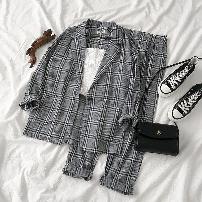 TYHRU Autumn Plaid Blazers Pants Suits Notched Collar Pockets Single Button Jacket +   Pants Two Piece Set