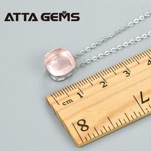 Image 5 - Naturalne Rose Quartz Sterling srebrne wisiorki 6.8 karaty naturalne Rose kwarty kryształ romantyczny styl dla pań prezenty w nowym stylu