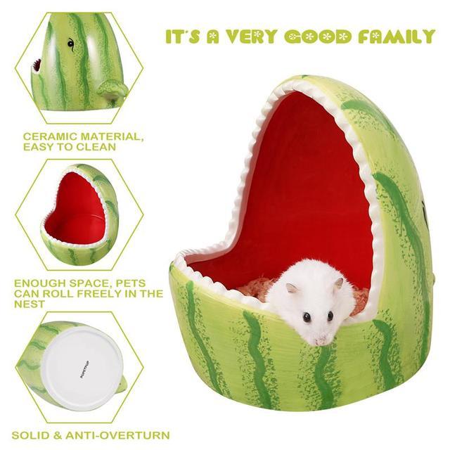 Ceramic Hamster House Cartoon Watermelon Shark Shape Small Animal Pet Nesting Habitat Cage Accessories Watermelon Shark Pet Pot 1