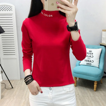 YUANYU Slim Casual Letter Print Basic All Match Korea Long Sleeve Turtleneck Female Women knitting T-shirts