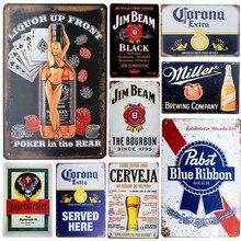 Cartel de cerveza Whiskey Vintage carteles de Metal pintura abierta cerrada cerveza decoración de la pared del Pub Bar decoración del hogar