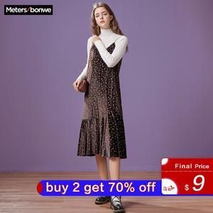 Image 1 - Metersbonwe 긴 니트 계층화 된 여성 스파게티 스트랩 스웨터 드레스 벨벳 빈티지 가을 겨울 드레스 여성 드레스