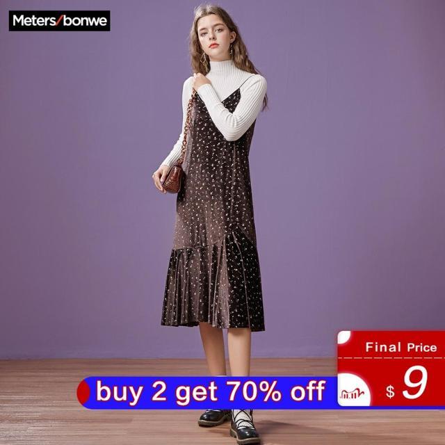 Metersbonwe 긴 니트 계층화 된 여성 스파게티 스트랩 스웨터 드레스 벨벳 빈티지 가을 겨울 드레스 여성 드레스