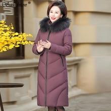 цена на Women Winter Fashion Coat 2019 Women's Hooded Big Fur Collar Thicken Warm Down Cotton Padded Parkas Female Long Wadded Overcoat