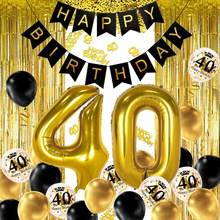 40th preto ouro decoração da festa de aniversário, feliz aniversário banner, número de hélio balão 40 xxl, 2 ouro franja cortina, látex con