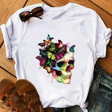 Women's T-shirt Harajuku Funny Skull Punk T-shirt Female Casual  Short Sleeve Graphic T-shirt Tops Girl 90S Clothing,Drop Ship