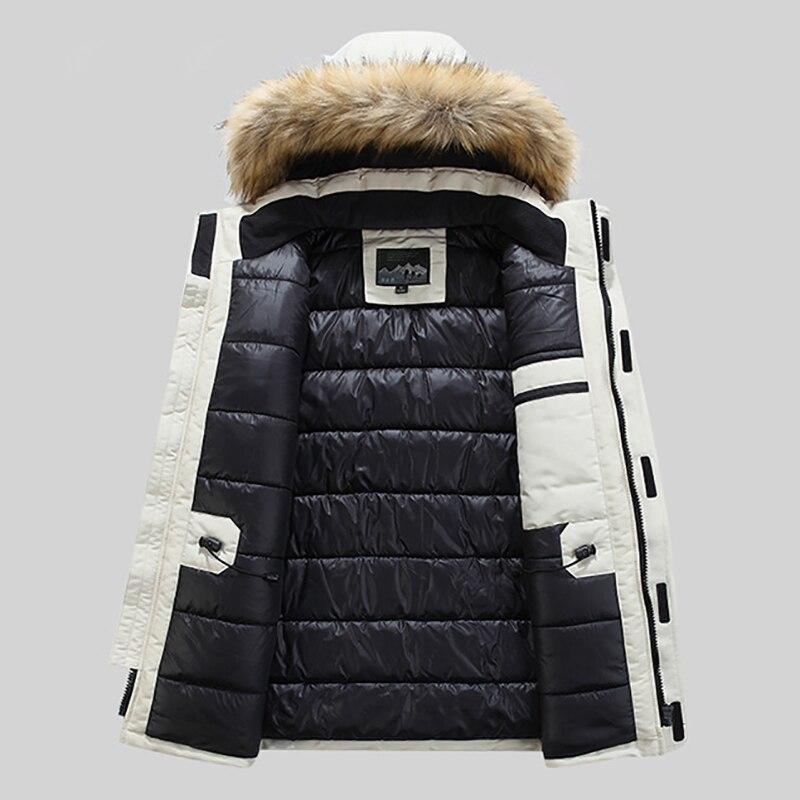 Grande taille mi longue veste d'hiver hommes coupe vent épais chaud col de fourrure hommes Parkas multi poches Outwear classique nouveaux manteaux - 5
