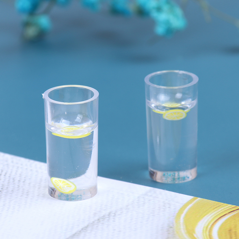 2pcs Resin 1/12 Dollhouse Miniature Accessories Decoration Mini Lemon Water Cup Simulation Lemonade Cup Drink Pearl Milk Tea Toy
