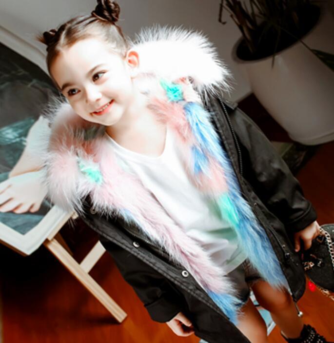 Enfants doudoune hiver nouveau à capuche plus épais vêtements d'extérieur chauds grue broderie grand col de fourrure manteau Modis enfants doudoune