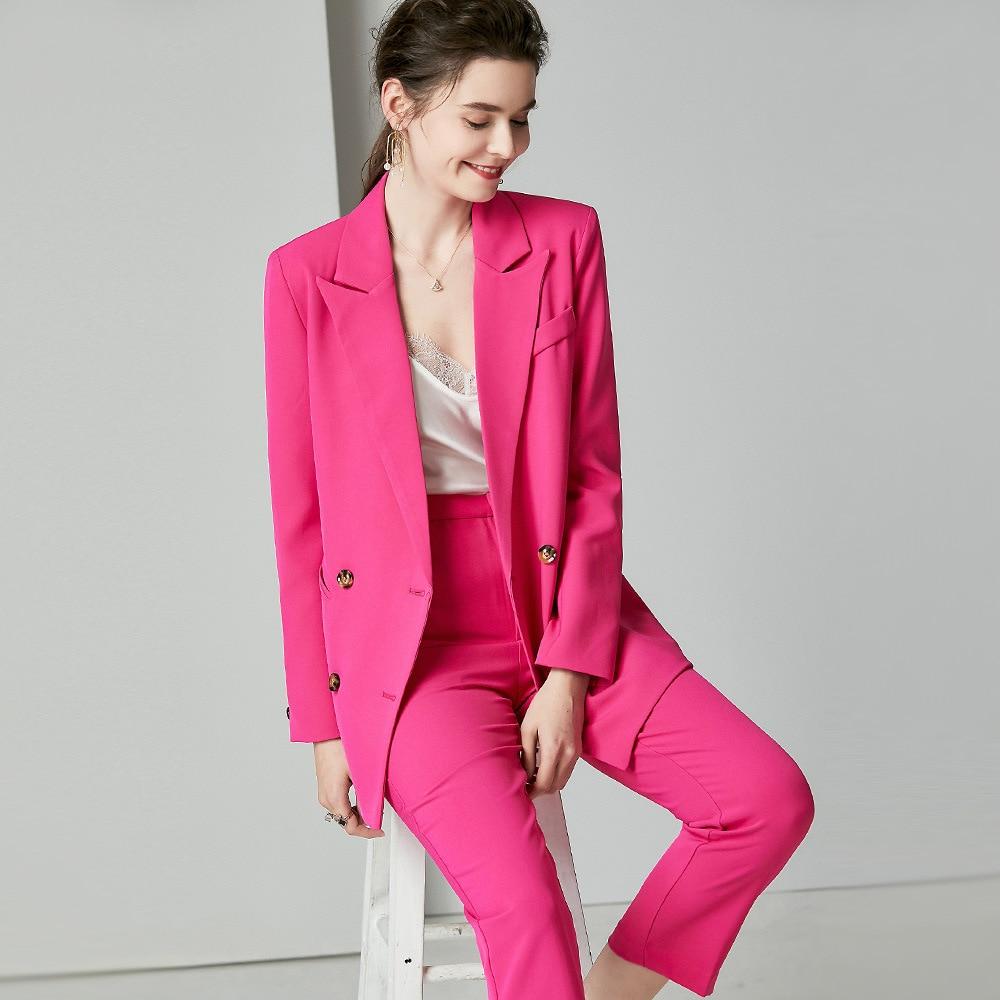 Lady Office Suits For Women Silk Formal Pants Suits Elegant Blazer Set Ladies Pantsuit Formal Woman Business Work Two Piece Set