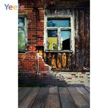 Grunge velho tijolo de madeira parede chão janela bebê criança retrato foto backdrops custome fotografia fundos para estúdio foto