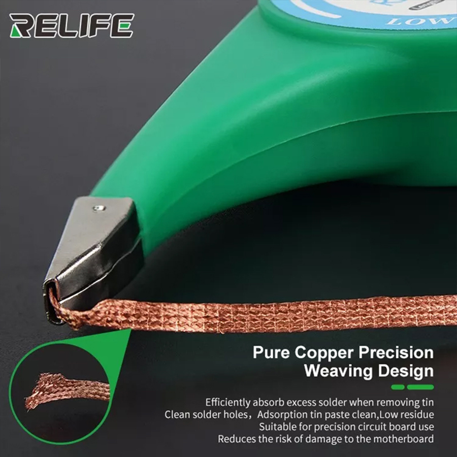 RELIFE  Anti-Hot Desoldering Wick BGA Solder Wick Copper Wire Braid Solder Remover 1.5mm 2mm 2.5mm 3mm 3.5mm