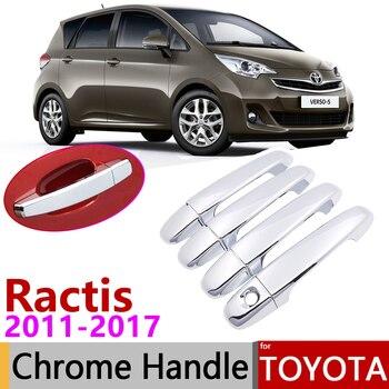 Untuk Toyota Ractis Verso-S Ruang Verso Subaru Trezia 2011 ~ 2017 Chrome Door Handle Cover Aksesoris Mobil Stiker potong Set 2016