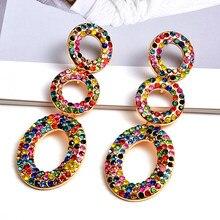 Pendientes colgantes largos de Metal con cristales coloridos para mujer, joyería fina, accesorios, regalo de Navidad, venta al por mayor
