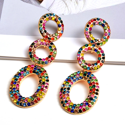 Wholesale Fashion Round Metal Colorful Crystals Long Dangle Drop Earrings Fine Jewelry Accessories For Women Christmas Gift