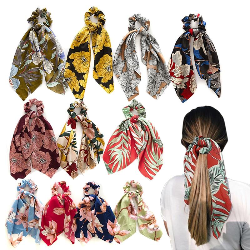 2020 New Chiffon Bow Scrunchie For Women Hair Scarf Sweet Elastic Hair Bands Hair Rope Girls Hair Ties Headband Hair Accessories