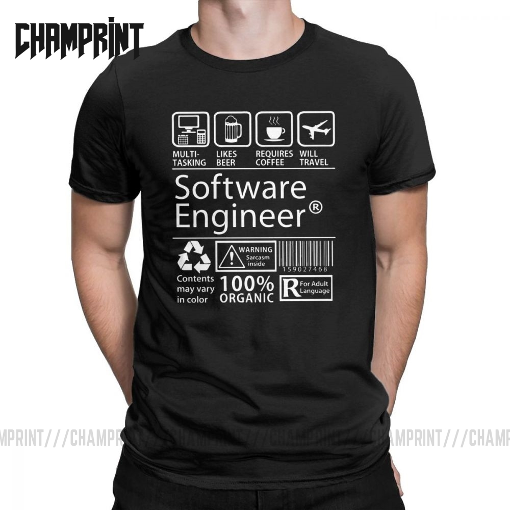 Software Engineer Programming T-Shirt Men Eat Sleep Code Repeat Programmer Developer Awesome Cotton Tees T Shirt Plus Size Tops