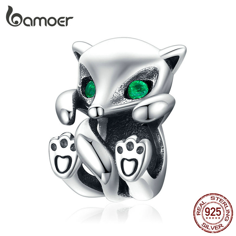 bamoer Baby Fox Animal Metal Charm fit Original Silver Snakle Bracelet 925 Sterling Silver Fashion Jewelry Bijoux SCC1290(China)