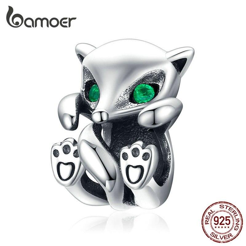 Bamoer Baby Fox Animal Metal Charm Fit Original Silver Snakle Bracelet 925 Sterling Silver Fashion Jewelry Bijoux SCC1290