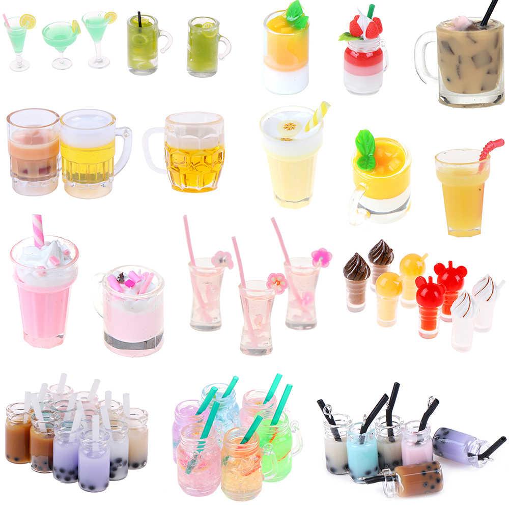 ميلك شيك صغير الآيس كريم الليمون الحليب شاي الفواكه كوب ماء الفراولة الموز المنمنمات دمية اكسسوارات أكواب المطبخ اللعب