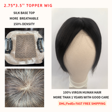 K.S WIGS 2.75*3.5'' Fine Mono Net Topper Wig Breathable Silk Base With Clip In Hair Toupee Remy Hairpiece 150% Density(China)