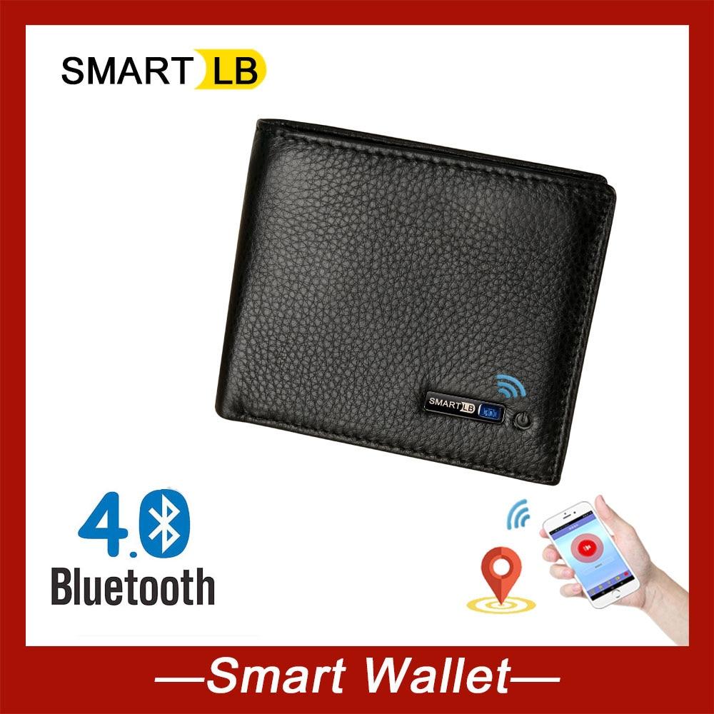 Inteligentny portfel Bluetooth anti-lost oryginalne męskie portfele skórzane miękka skóra wysokiej jakości biznes torebka mężczyzna luksusowy portfel męski