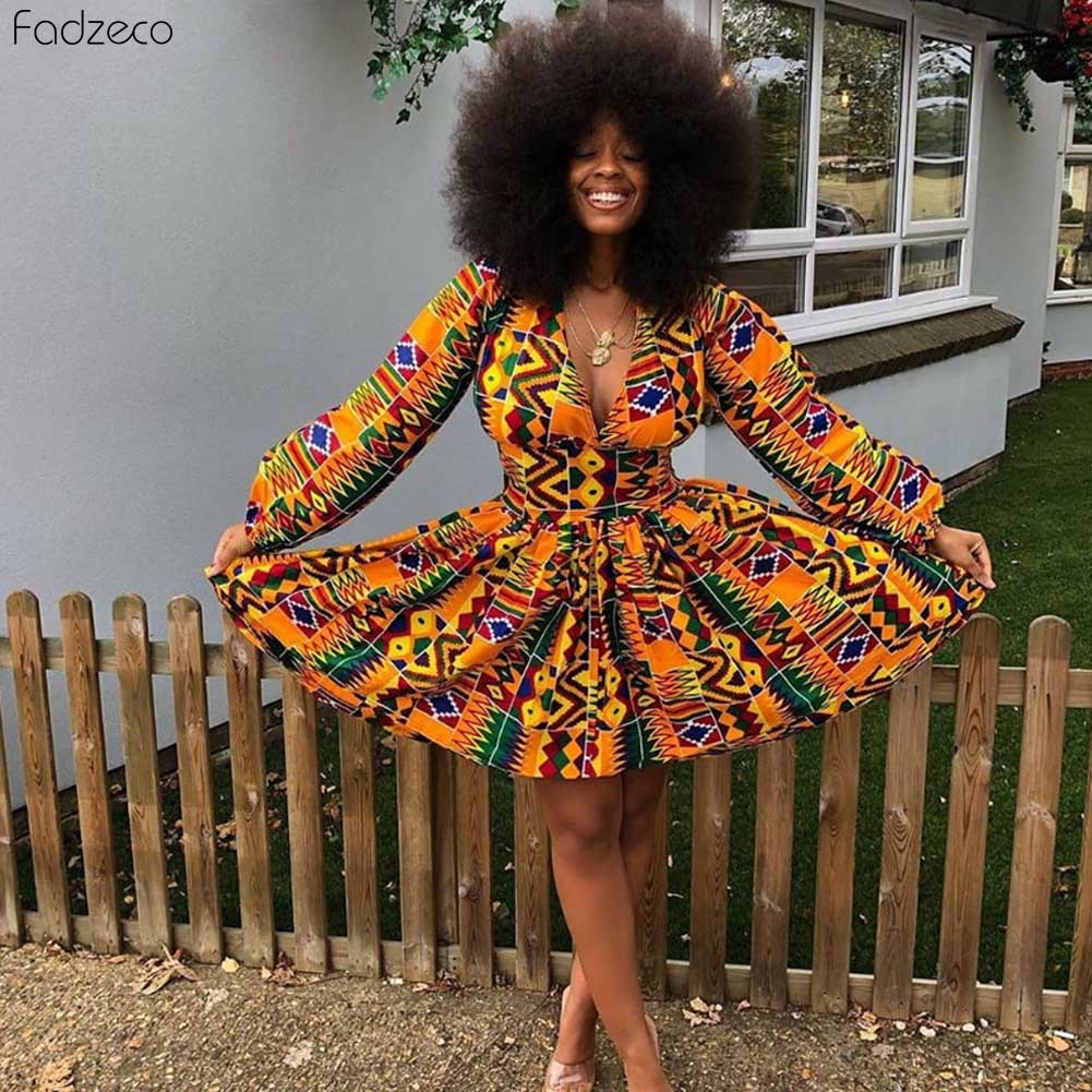 Fadzeco Elegant African Dresses Dashiki Print Lantern Sleeve Sexy V Neck Zip Mini High Waist Dresses Party Vestidos Bazin Riche