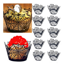 Halloween Party Cake Border Card Pumpkin Bat Spider Cake Decoration Card Party Tableware Decor Cake Topper Birthday Baby 64P(China)