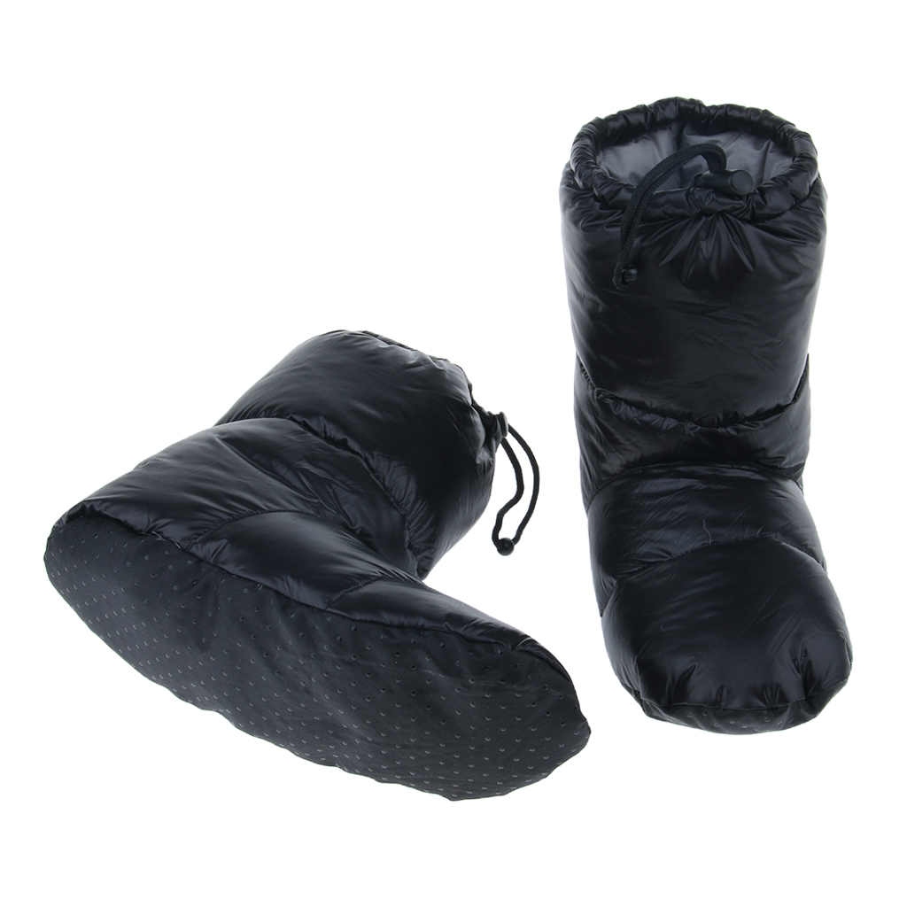 White Goose Down Slippers Winter Warm Camping Tent Foot Booties, Filled With 90% Goose Down, Super Warm