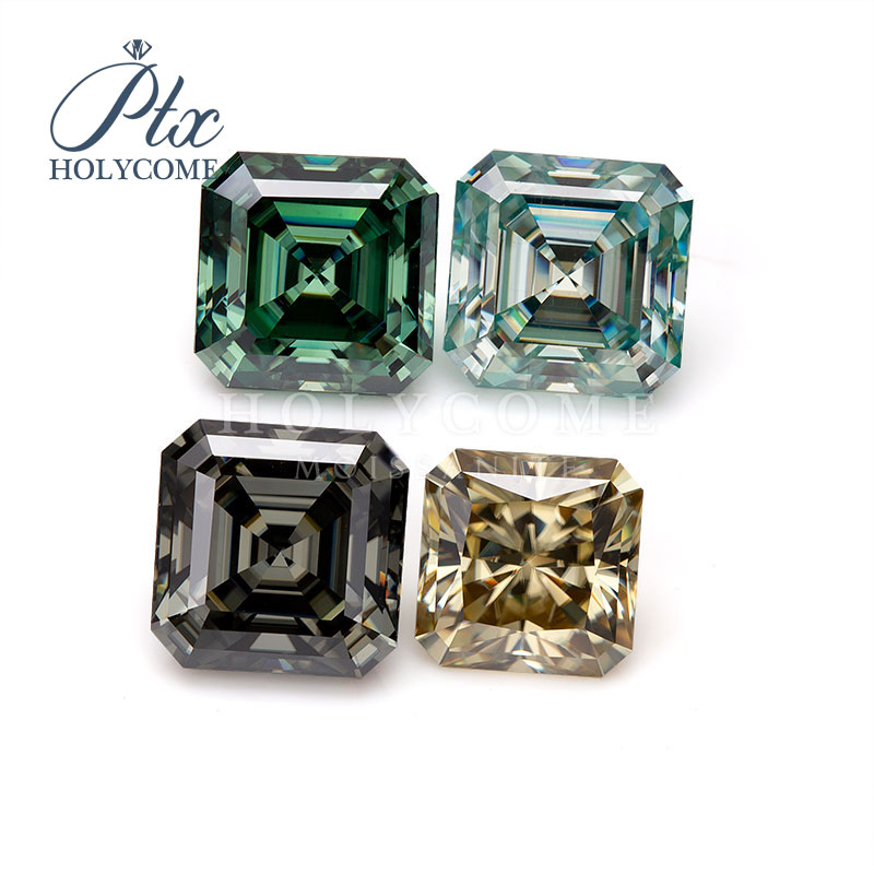 Blue color asscher cut 1ct loose moissanite diamond gemstones for jewelry making