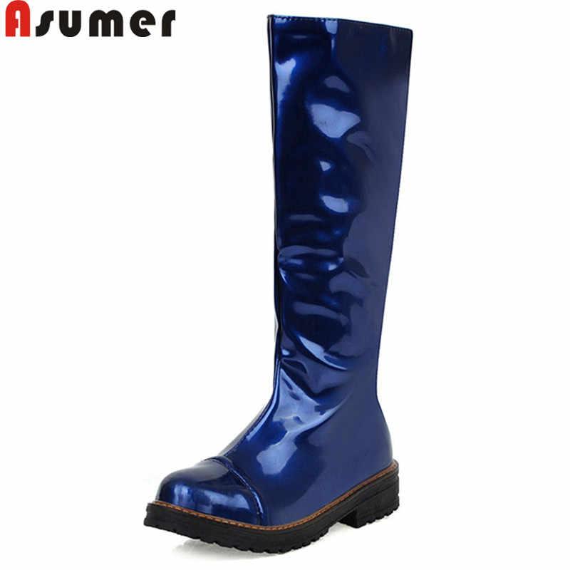 ASUMER 2020 yeni diz yüksek çizmeler kadın yuvarlak ayak kayma sonbahar kış çizmeler düşük topuklu klasik balo kadın botları büyük boy 34-43