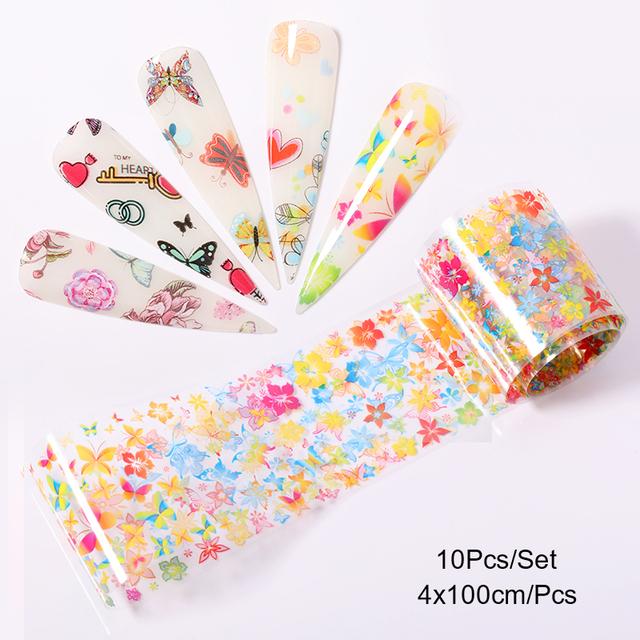 1Box Nail Foil Stickers Flowers Butterflies Pattern