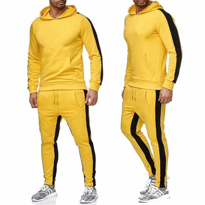Zima jesień mężczyźni bluza z kapturem bluza kurtka + biegaczy spodnie człowiek drukowania garnitury dres sportwear walczyć kolor marka odzież