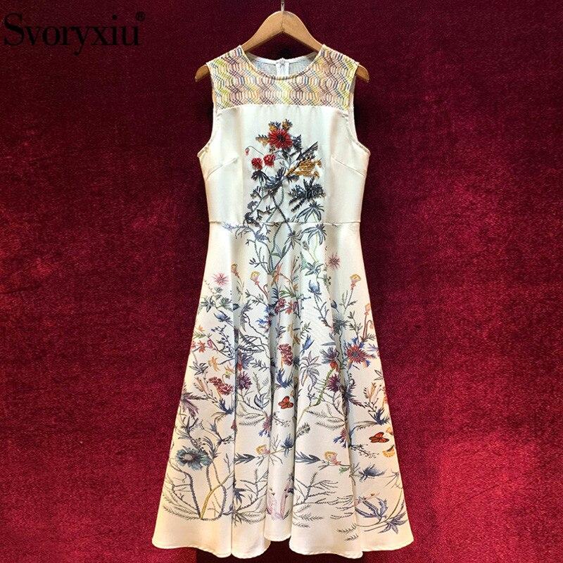 Svoryxiu 2020 Designer Fashion Summer Flower Print Tank Midi Dress Women's High Quality Beaded High Waist Dresses Vestdios