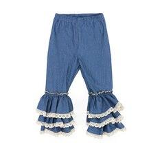 Kaiya Angel Toddler Girls Jeans Princess Three Layers Ruffle Leggings Kids Lace Pants Baby Girls Party Leggings
