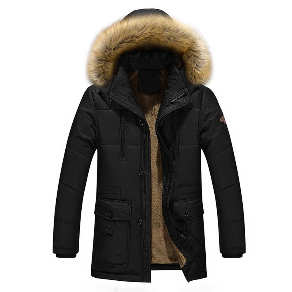Men Hooded Jacket Fashion Jacket men long Sleeves Winter plus velvet thickened long hooded middle-aged winter coat