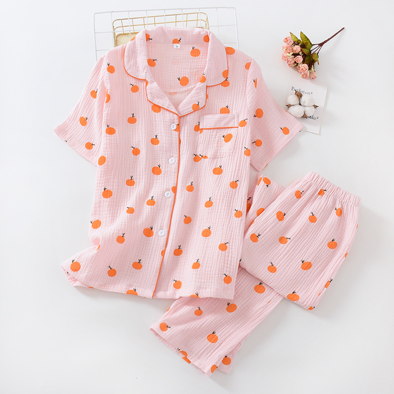 Orange Printing Ladies Cotton Thin Section Pijamas De Mujer Home Wear Double Gauze Crepe Short Sleeve Trousers Pajamas Suit