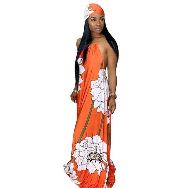 Floral Print Summer Boho Dresses Women Off Shoulder Backless Long Beach Dress Casual Halter Sleeveless Maxi Dress With Headscarf 2