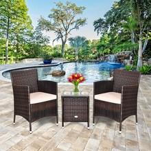 Costway Outdoor 3 PCS PE Rattan Wicker Furniture Sets Chairs Coffee Table Garden Beige cheap HW63850BN Modern Other