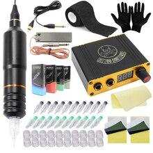 цена на Professional Rotary Tattoo Pen Machine Kit Tattoo Pen Power Supply Tattoo Cartridges Needles Foot Pedal Clip Cord Free Shipping