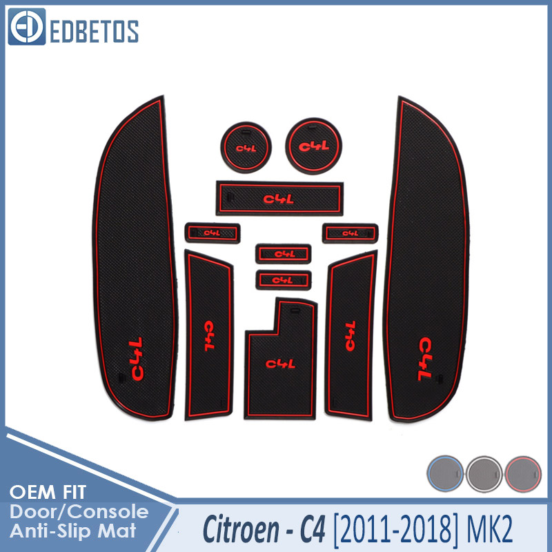 Car Gadget Pad For <font><b>Citroen</b></font> <font><b>C4</b></font> 2011 2012 2013 2014 2015 <font><b>2016</b></font> 2017 2018 MK2 C4L Accessories Gel Pad Rubber Gate Slot Mat Cup Mats image