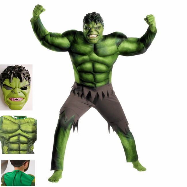 Superhero Hulk Muscle Costume Kids Set Mask Stage Performance Props Costume Kids Dress Up Cosplay Party Halloween Costume