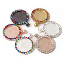 25mm 14 color Mix Cabochon Blank Setting Pendant Tray Base  Color rhinestones Bezel DIY Supplies for jewelry Making Accessories 18x25mm round glass cabochon base setting pendant tray for jewelry diy making diy accessories for jewelry