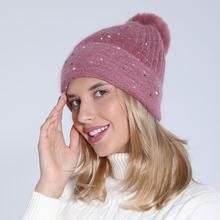 Женские вязаные шапки sparsil из 5% кроличьего меха женские