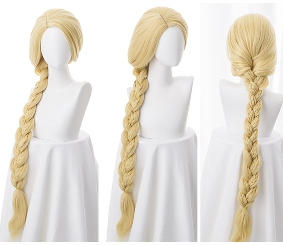 """Tangled Princess 120cm 47"""" Straight Blonde Super Long Cosplay Wig Rapunzel Synthetic Hair Anime Wig + Wig Cap"""