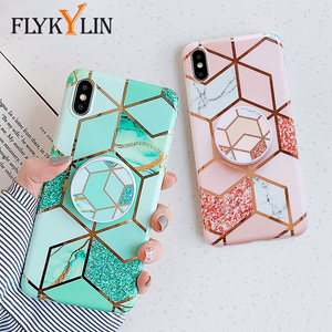 FLYKYLIN Holder Stand Case For Huawei P20 Lite P30 Pro Back Cover For iphone 11 Pro Max SE 2 Marble Art IMD Silicone Phone Coque(China)