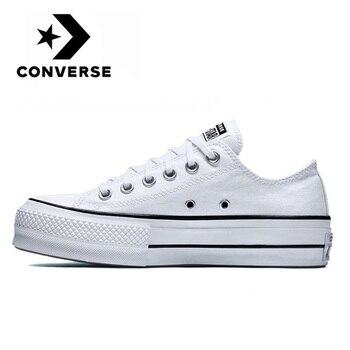 Converse Chuck Original Taylor All Star plataforma Low Top hombres y mujeres unisex Skateboarding zapatillas blancas zapatos de lona clásicos