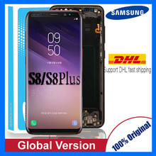 Original Super Amoled S8 LCD mit rahmen für SAMSUNG Galaxy S8 G950 G950F Display S8 Plus G955 G955F Touchscreen ersatz(China)